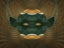 Brown i czarny abstrakcjonistyczny płomienia fractal z oczami i ucho ilustracja wektor