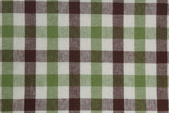 Brown i zielony gingham tablecloth wzór Zdjęcia Stock