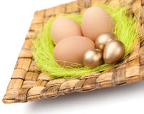 Brown i złoci Easter jajka Zdjęcie Royalty Free