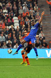 Brown Ideye jumps for the ball Stock Images