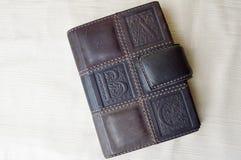 Brown, idoso, vintage, caderno retro, de couro fotografia de stock royalty free