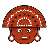Brown Inca totem face illustration on white Stock Photography