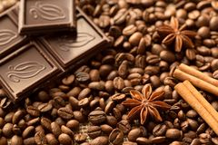 Brown ingredients macro: anise star, cinnamon sticks and coffee beans. Top view royalty free stock image