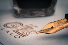 Brown Ink Pen Stock Photography