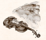 Brown ink violin sketch illustration. Brown ink or watercolor sketch illustration of a violin royalty free illustration