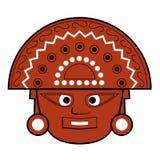 Brown inka totemu twarzy ilustracja na bielu royalty ilustracja