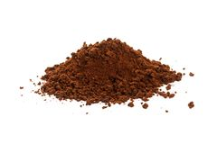 Brown instant coffee powder. Dry brown instant coffee powder, close up royalty free stock photos
