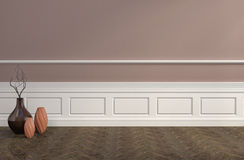 Brown interior with vases. 3d illustration Stock Images