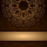Brown invitation card with round floral ornament Royalty Free Stock Photography