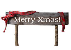 Brown Isolated Christmas Sign Merry Xmas, Red Ribbon. Brown Isolated Wooden Christmas Sign On White. Red Ribbon, English Text Merry Xmas. Christmas Decoration Or stock photos