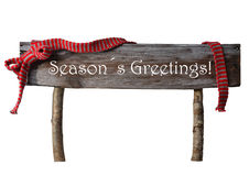 Brown Isolated Christmas Sign Seasons Greetings, Red Ribbon Stock Photography