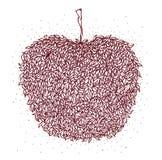 Brown jabłko w zentangle stylu pojedynczy białe tło Liścia wzór dla dorosłego kolorystyki książki antego stresu Kreskowej sztuki Zdjęcia Stock
