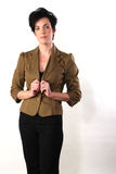 Brown Jacket. Caucasian female wearing a brown jacket against a white background Stock Photography