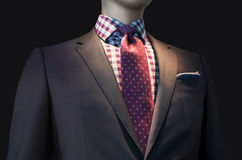 Brown Jacket with Checkered Shirt and Red Tie. Isolated on black background. Clipping path included Stock Image