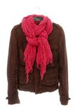 Brown jacket and pink scarf Royalty Free Stock Photo