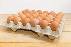 Brown jajka w jajecznej tacy na wieśniaka stole w górę zdjęcie stock