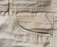 Brown jeans front pocket, close up detail. Royalty Free Stock Images