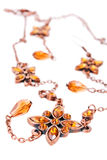 Brown jewelery. On the white royalty free stock images