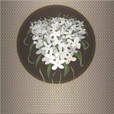 Brown karta z białymi kwiatami Ilustracji