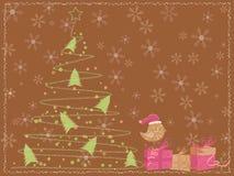 Brown-Karte mit einem Weihnachtsbaum, einem Vogel und Geschenken Stockfotografie