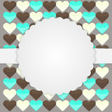 Brown-Kartenschablone mit Herzen Lizenzfreies Stockfoto