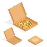 Brown karton pakuje pizzy pudełko Karton otwarty i zamyka pudełka Fotografia Royalty Free