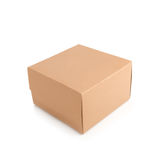 Brown kartonu doręczeniowy pakuje pudełko odizolowywający na białym tle Zdjęcia Stock