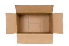 Brown kartonu pudełko, odosobniony na bielu Zdjęcia Stock