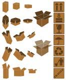 Brown-Kasten- und Kastenzeichenset Stockbilder