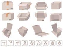 Brown-Kastenverpackung - Vector Pappschachteln mit Zeichen Stockbilder