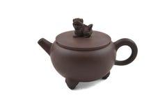 Brown-keramische Teekanne mit Abdeckung Stockbild