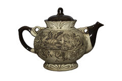 Brown kettle made of clay with a picture on its back isolated Stock Images