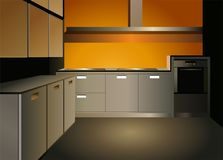 Brown kitchen interior vector Stock Photo