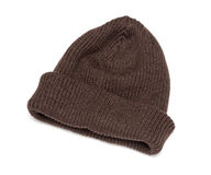 Brown knitted hat isolated Stock Photos