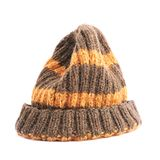 Brown knitted head cap isolated Stock Image