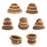 Brown knitted head cap isolated Stock Photo