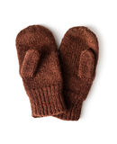 Brown knitted mittens Royalty Free Stock Photography