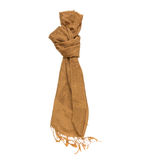Brown knitted winter scarf on a white isolate with clipping path Stock Photography
