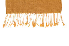 Brown knitted winter scarf on a white isolate with clipping path Royalty Free Stock Image