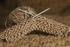 Brown knitting Royalty Free Stock Photos
