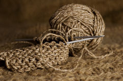 Brown knitting Stock Photo