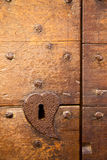 Brown knocker and door castiglione olona varese Stock Image