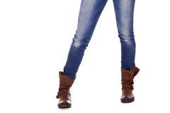 Brown kobiety rzemienni buty Fotografia Royalty Free