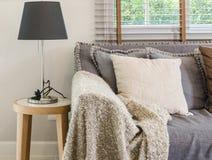 Brown koc na kanapie z lampą w żywym pokoju obrazy stock