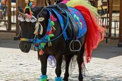 Brown konik w kolorowej jaskrawej nicielnicie i jednorożec ubieramy w ulicie zdjęcia stock