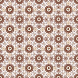 Brown koronkowy kwiecisty bezszwowy wzór na bielu Obraz Stock
