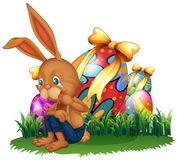 Brown królika płacz w ogródzie ilustracji