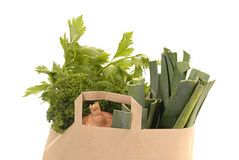 Brown kraft paper bag fulle of vegetables Stock Image