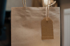 Brown kraft paper bag for gift and tag Stock Photo