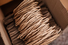 Brown kraft paper bags for gifts on background Stock Image